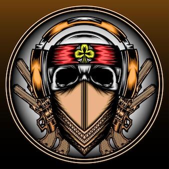 Cool mafia skull with headphone hand drawn