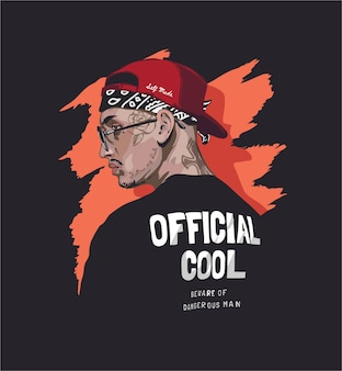Cool man with face tattoo in black t shirt illustration