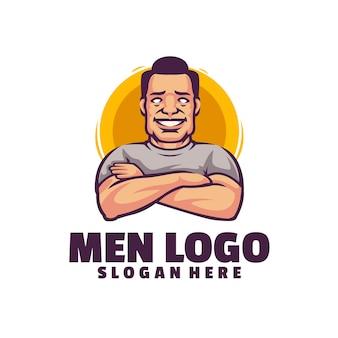 白で隔離されるクールな男性のロゴ