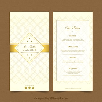 Cool menu template with golden ornaments
