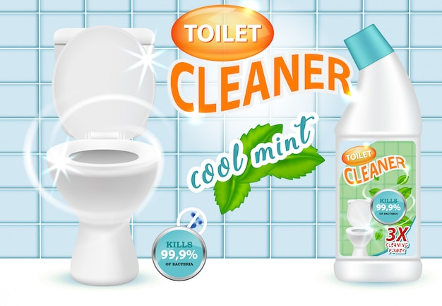 Cool mint toilet cleaner ad vector illustration