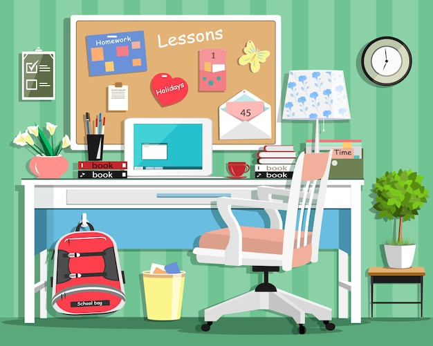 Cool modern teenager room with workplace: table, chair, board, lamp, school bag, laptop, stationery and books. flat style illustration
