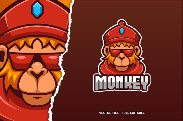 멋진 원숭이 e- 스포츠 로고 템플릿