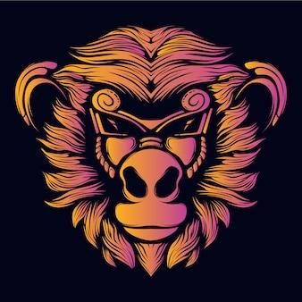 Cool monkey head artwork retro neon color illustration
