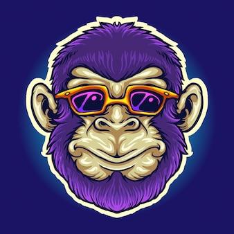 멋진 원숭이 머리 선글라스 작업 로고, 마스코트 상품 티셔츠, 스티커 및 레이블 디자인, 포스터, 인사말 카드 광고 비즈니스 회사 또는 브랜드에 대한 벡터 삽화.