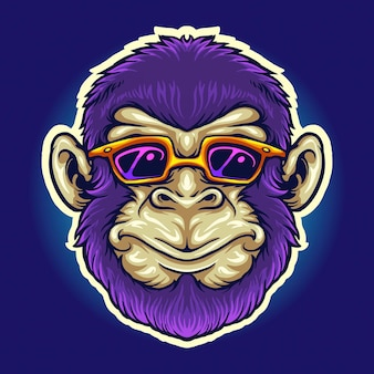 Cool monkey head sunglasses vector illustrations for your work logo, mascot merchandise t-shirt, stickers and label designs, poster, greeting cards advertising business company or brands.