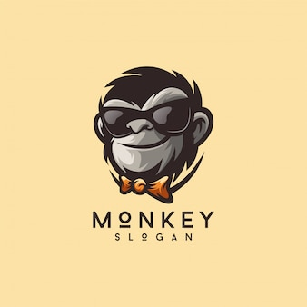 Cool monkey logo design vector illustrator ready to use