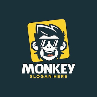 Cool monkey logo design vector illustrator