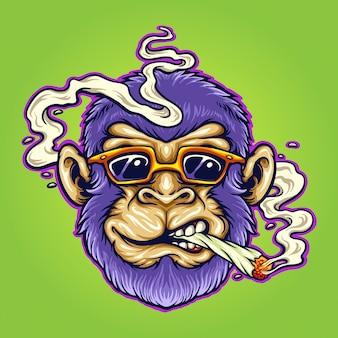 あなたの仕事のためのクールなモンキーストーナー大麻喫煙ベクトルイラストロゴ、マスコット商品のtシャツ、ステッカーとラベルのデザイン、ポスター、企業やブランドを宣伝するグリーティングカード。