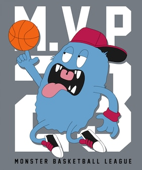 Cool monster playing basketball