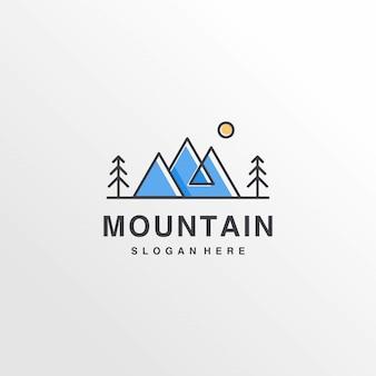 クールな山のロゴデザインのインスピレーション、ミニマリスト、アイデア、モダンなコンセプト、プレミアム