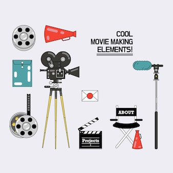 Cool movie making elements vector