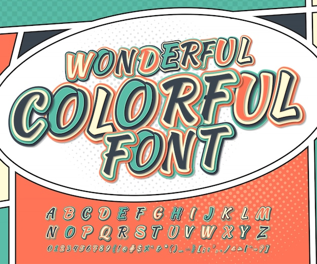 Cool multicolored  comic font. alphabet in style comics, pop art. funny font of letters and numbers