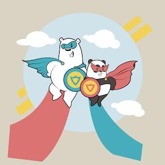Cool panda couple vector design