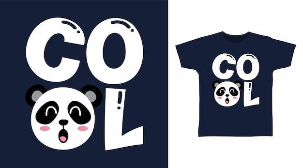 멋진 팬더 타이포그래피 티셔츠 디자인 컨셉