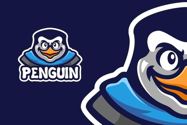 Cool penguin mascot character logo template