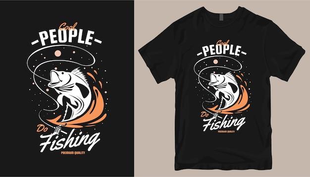 クールな人が釣りをする、釣りのtシャツのデザイン。