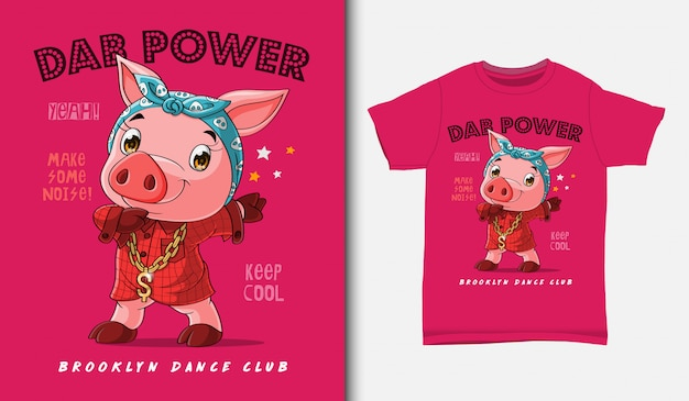 Cool pig dabbing illustration with t-shirt design, hand drawn