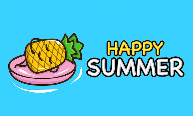 Cool pineapple mascot in summer holiday banner template
