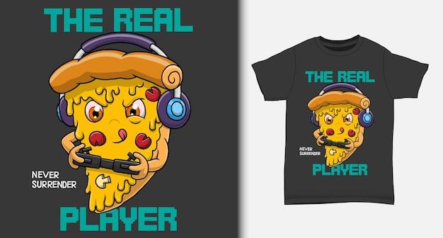 Крутой геймер пиццы с дизайном футболки