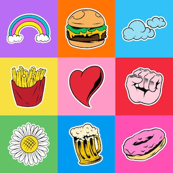 Cool pop art sticker with a white border set  vector