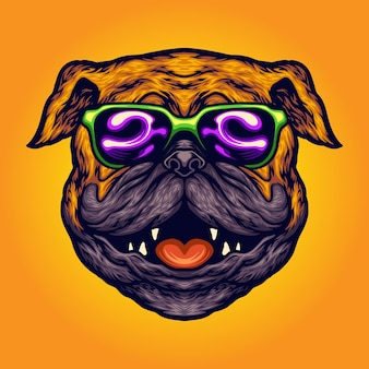 クールなパグ犬夏のサングラス漫画あなたの仕事のためのベクトルイラストロゴ、マスコット商品のtシャツ、ステッカーとラベルのデザイン、ポスター、グリーティングカード広告事業会社またはブランド。