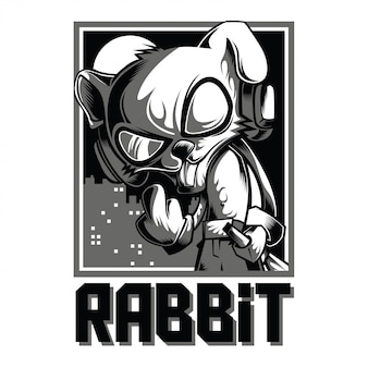 Cool rabbit black and white illustration