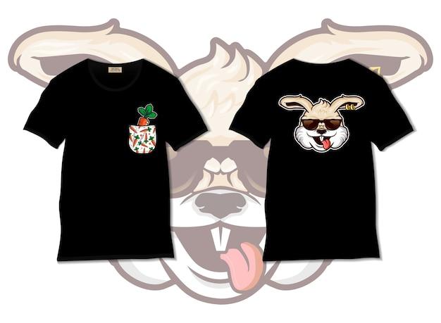 Прохладный кролик иллюстрация с дизайном футболки, рисованной