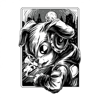 Cool rabbit remastered black and white illustration