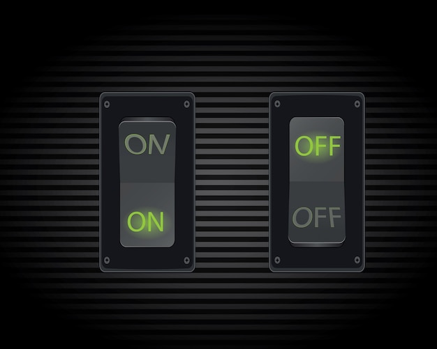 Cool realistic toggle switch (on/off).