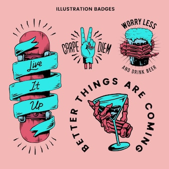 Cool retro motivational badges vector