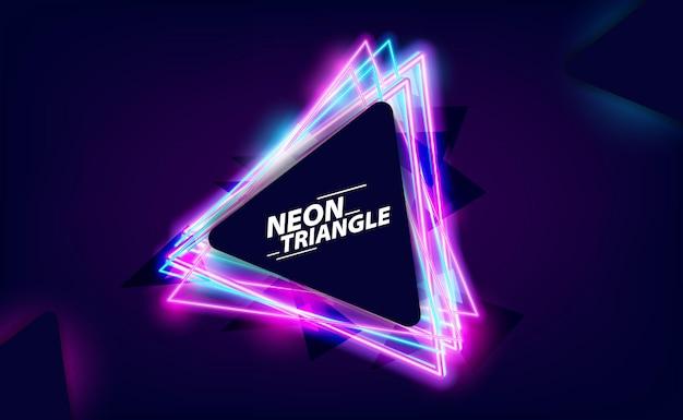 クールなレトロなヴィンテージ80年代の三角形のネオンカラーと暗い背景のナイトライフのための明るく輝く効果
