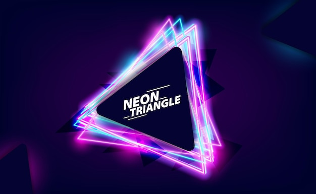 Cool retro vintage 80s triangle neon color and bright glowing effect for nightlife with dark background