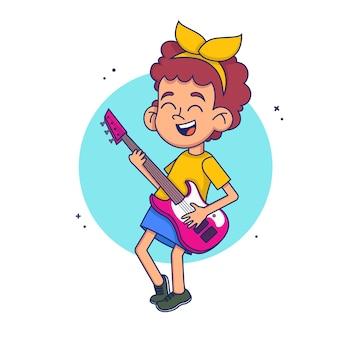 Крутая рок-звезда девушка играет на гитаре. иллюстрация в стиле.
