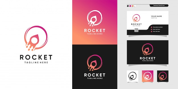 Cool rocket logo and business card design. planet, gradient, card, launch, icon, premium