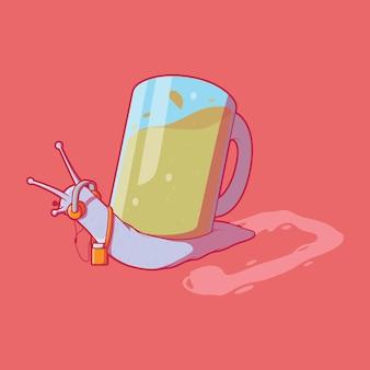 멋진 흔들 달팽이 캐릭터 벡터 일러스트 음악 파티 재미 브랜드 디자인 컨셉