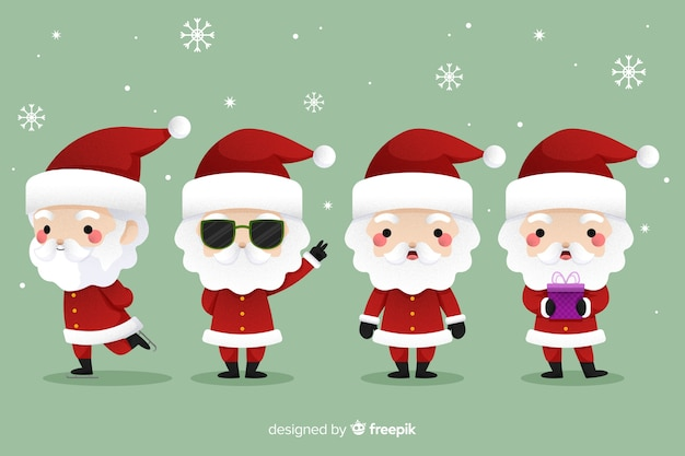 Cool santa claus in flat design
