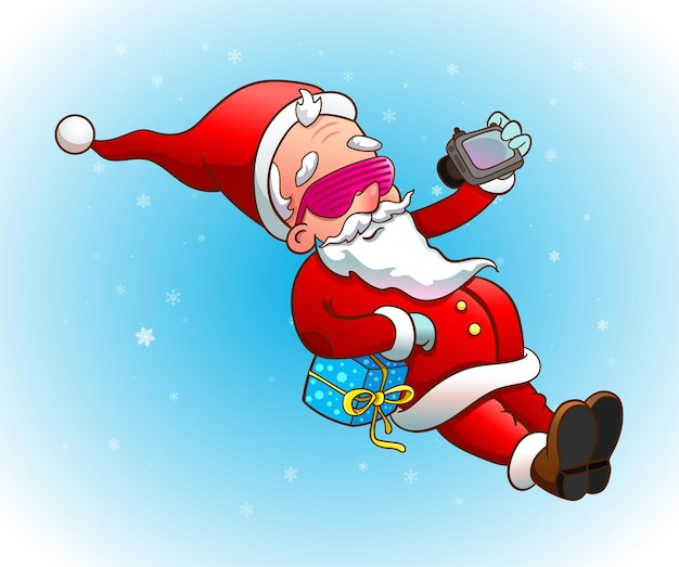 Cool santa claus in sunglasses takes selfie on photo camera. vector illustration for christmas party
