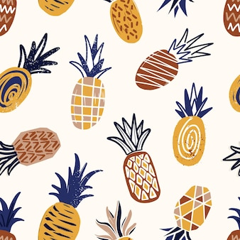 Cool seamless pattern with textured pineapples