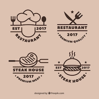 Cool set of grill restaurant logos