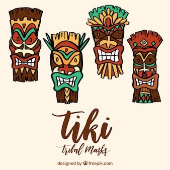 Cool set of hawaiian tiki mask