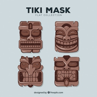 Прохладный набор деревянных племенных масок