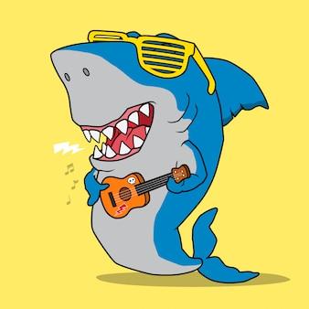 Крутая акула, играющая на гитаре.