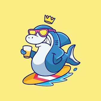 Крутая акула, играющая в серфинг мультяшныйа. животное вектор значок иллюстрации, изолированные на premium векторы