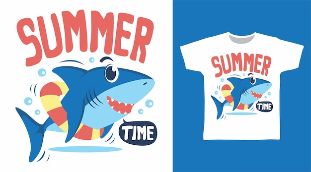Cool shark summer time t shirt design concept
