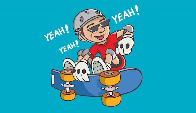 멋진 스케이트 보드 소년.
