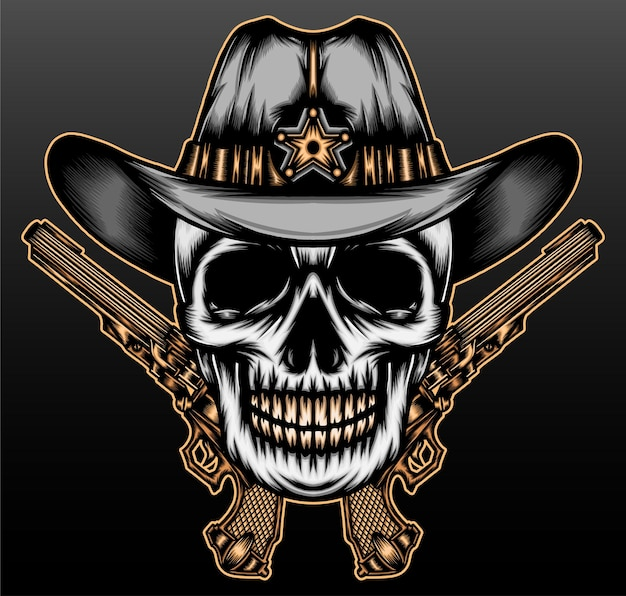 Cool skull cowboy isolated on black