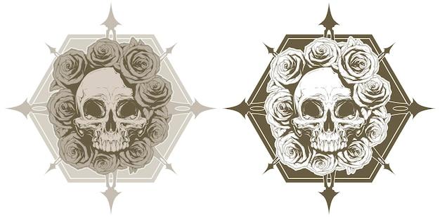 バラとスパイクがセットされたクールな頭蓋骨