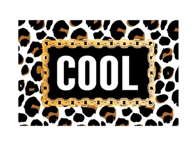 Крутой слоган на леопардовом животном принте Premium векторы