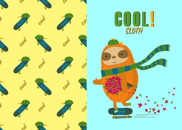 Cool sloth on skateboard and skateboard seamless pattern
